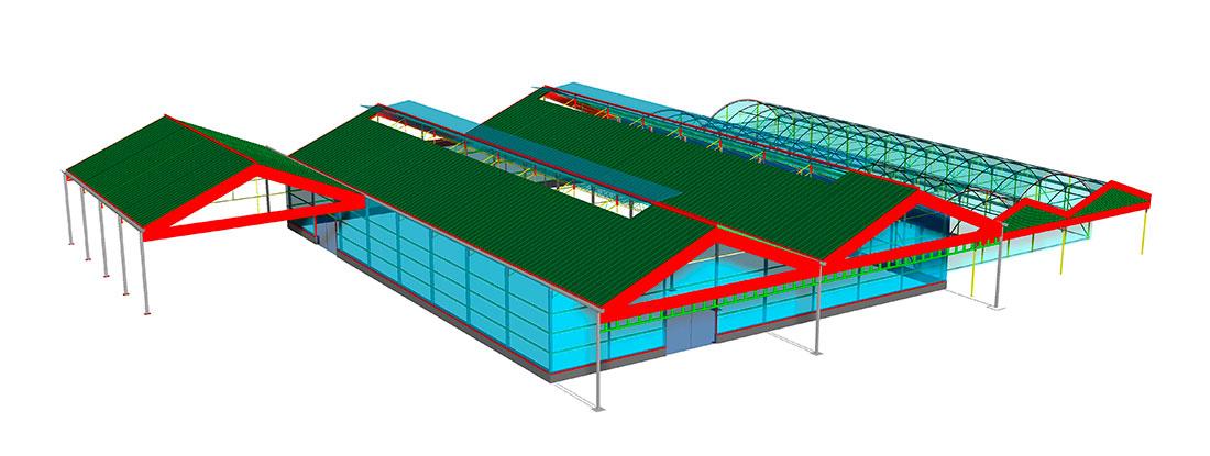 Vista 3D realizada para el proyecto de un Centro de Jardinería