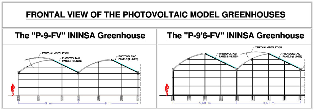 Frontal design of the ININSA P-9FV Photovoltaic greenhouse model