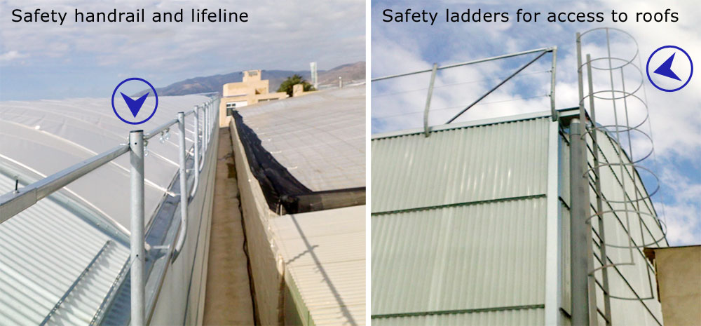 security systems for working on the greenhouse roofs