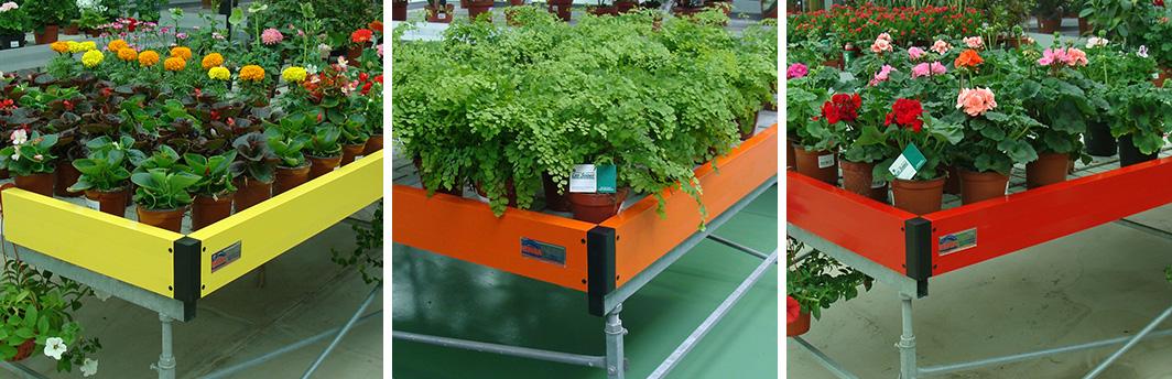 Mesas cromáticas para exposición de plantas