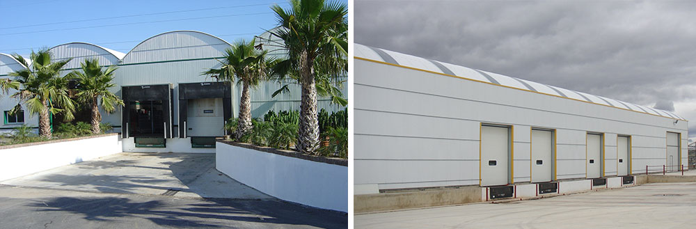 Curved roof warehouse with automatic cold room doors installed