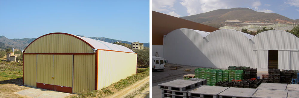 Curved roof warehouse with sliding doors installed