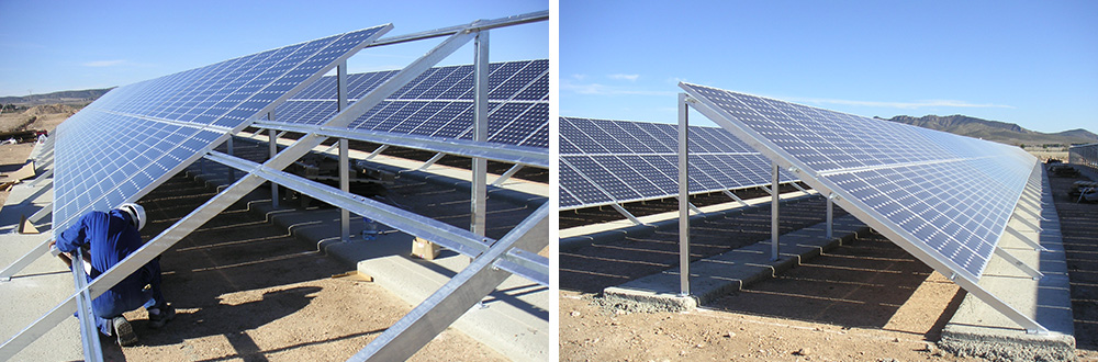 Structures for supporting photovoltaic panels in solar parks