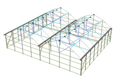 Vista isométrica de la estructura del invernadero P-9'60 Gótico