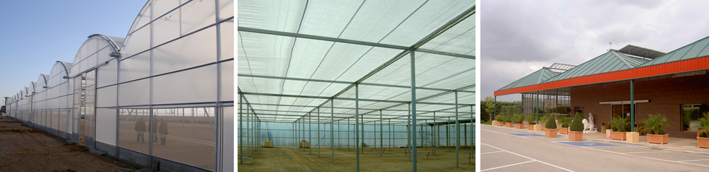 Greenhouses, shading structures, and garden center installations