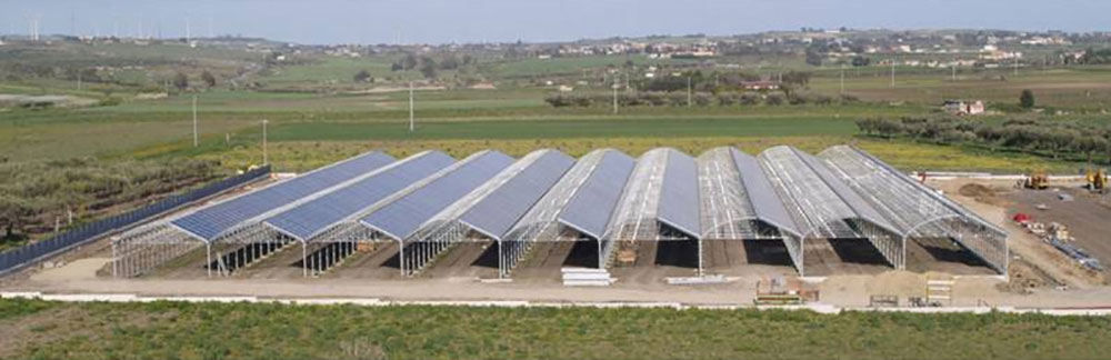 General view of the ININSA P-9FV Photovoltaic greenhouse model