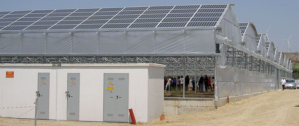 Exterior view of the ININSA P-9FV Photovoltaic greenhouse model