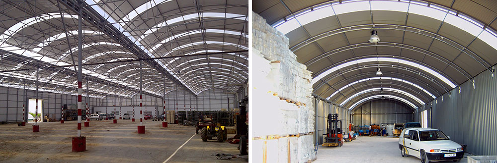 Curved roof warehouse with modified structure by truss beams and arch trusses