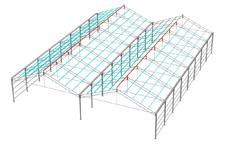 Vista isométrica de la estructura del invernadero modelo ININSA PW