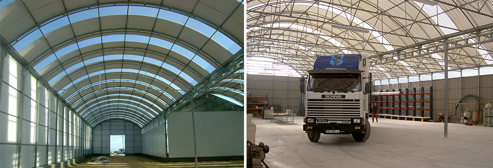 Interior view of P-10 curved roof multi-span greenhouse with truss beams and double arch trusses