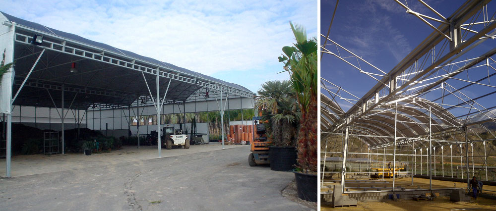 Interior view of truss beams in curved roof greenhouse and wide-span greenhouse