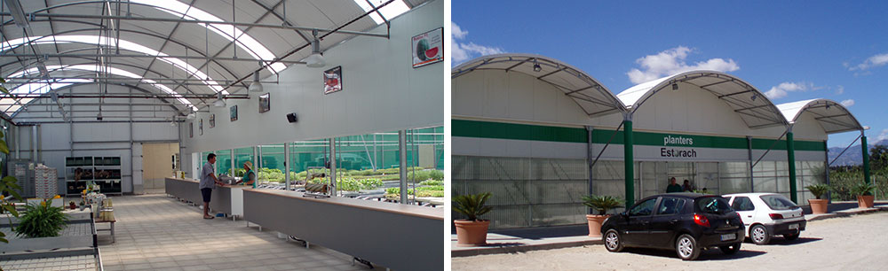 Interior y exterior de vivero transformado en Tienda Agrícola