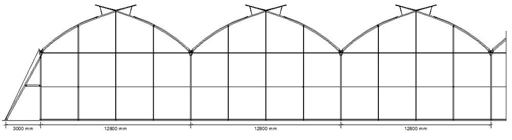 Invernadero Multicapilla Gótico Extra-Ancho